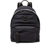 Logo-webbing And Leather-trimmed Quilted Shell Backpack - Black