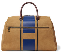 Croc-effect Intrecciato Leather-trimmed Printed Suede Holdall
