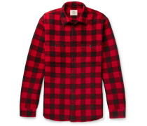 Checked Cotton-flannel Shirt - Red