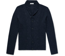 Shawl-Collar Cable-Knit Linen and Silk-Blend Cardigan