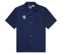 Camp-collar Indigo-dyed Printed Cotton Shirt