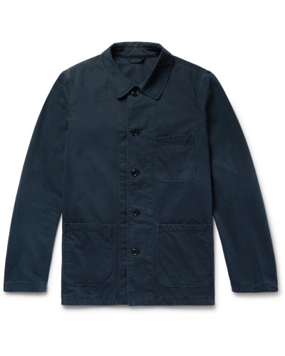Garment-washed Cotton-twill Field Jacket - Navy