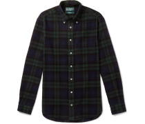 Button-down Collar Checked Cotton-flannel Shirt - Green