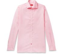 Slim-fit Cutaway-collar Pinstriped Linen And Cotton-blend Shirt - Pink