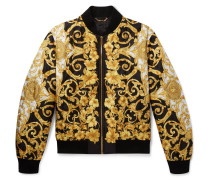 Printed Quilted Silk Bomber Jacket - Yellow