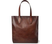 Scritto Leather Tote Bag - Brown