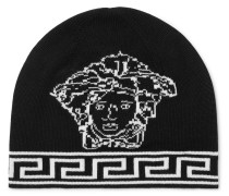 Logo-intarsia Wool And Silk-blend Beanie - Black