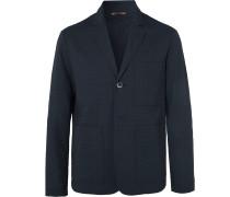 Midnight-Blue Unstructured Virgin Wool-Blend Seersucker Suit Jacket