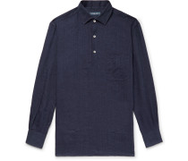 Slub Linen Half-placket Shirt - Midnight blue