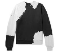 Oversized Distressed Tie-dyed Loopback Cotton-jersey Sweatshirt - Black