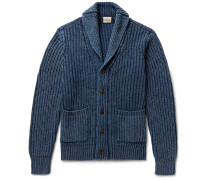Indigo-dyed Shawl-collar Ribbed Cotton Cardigan