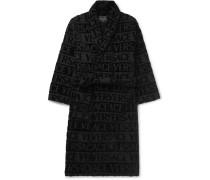 Logo-jacquard Cotton-terry Robe - Black