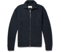 Ribbed Virgin Wool Zip-up Cardigan - Navy