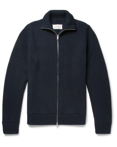 Ribbed Virgin Wool Zip-up Cardigan - Navy