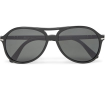 Aviator-style Acetate Polarised Sunglasses - Black