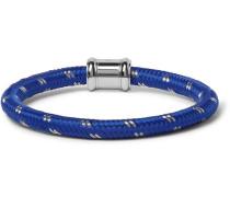 Single Casing Cord Stainless Steel Bracelet - Blue