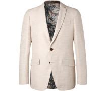 Cream Slim-fit Cotton And Linen-blend Jacquard Blazer - Cream