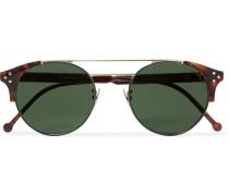 Round-frame Tortoiseshell Acetate And Gold-tone Sunglasses - Brown