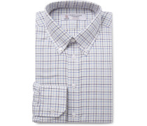 Blue Button-down Collar Checked Cotton-twill Shirt