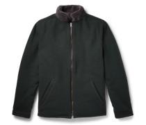 Reversible Boiled Wool-blend And Fleece Jacket - Dark green