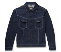 Logo-appliquéd Stretch-denim Jacket - Blue