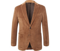 Tan Slim-fit Unstructured Cotton-corduroy Blazer