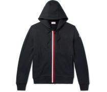 Striped Fleece-back Cotton-jersey Hoodie