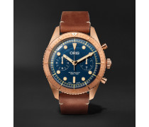 Carl Brashear Chronograph 43mm Burnished Bronze and Leather Watch, Ref. No. 01 774 7744 3185