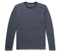Striped Cotton-blend T-shirt - Storm blue