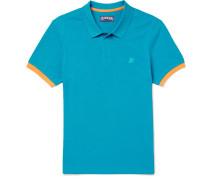 Palatin Contrast-tipped Cotton-piqué Polo Shirt - Blue