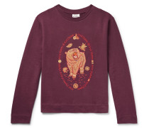 Oslavi E Bear Embroidered Loopback Cotton-jersey Sweatshirt - Burgundy