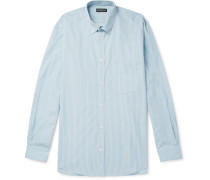 Oversized Printed Striped Cotton-poplin Shirt - Blue