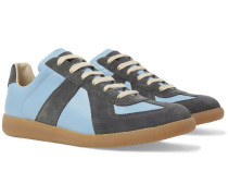Replica Leather And Suede Sneakers - Light blue