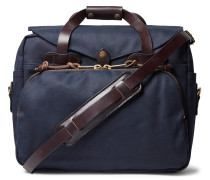 Leather-Trimmed Twill Briefcase