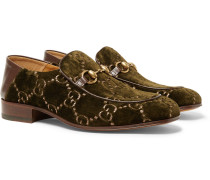 Horsebit Collapsible-heel Leather-trimmed Embroidered Velvet Loafers - Army green
