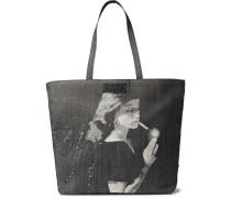Printed Denim Tote Bag