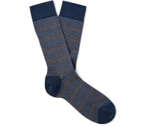 Striped Textured Pima Cotton-Blend Socks