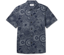 Camp-Collar Indigo-Dyed Floral-Print Cotton Shirt