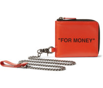 Printed Leather Zip-Around Chain Wallet