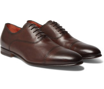 Cap-toe Leather Oxford Shoes - Dark brown