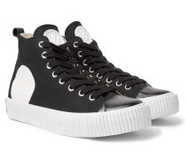 Printed Canvas High-top Sneakers - Black