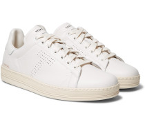 Warwick Perforated Full-grain Leather Sneakers - White