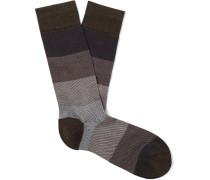 Striped Textured Pima Cotton-Blend Socks