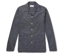Camp-Collar Washed Cotton-Chambray Shirt