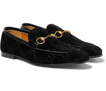 Horsebit Leather-trimmed Logo-embroidered Velvet Loafers - Black