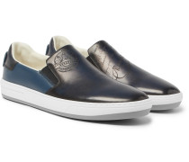 Outline Leather Slip-on Sneakers - Navy