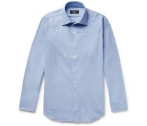 Slim-fit Brushed-cotton Shirt - Sky blue