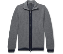 Ribbed Virgin Wool Zip-up Cardigan - Gray