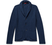 Shawl-collar Cotton And Cashmere-blend Cardigan - Navy