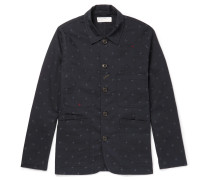 Embroidered Cotton-twill Overshirt